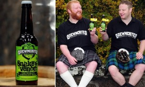 Brewmeister Brewery's new beer, the £50 per bottle 'Snake Venom', which at 67.5 % is the strongest in the world and comes with a warning. It is the second time in a year Brewmeister, based in Keith, Moray,has broken the record for world's strongest beer. See Northscot story 'STRONGEST BEER'' 23/10/2013
