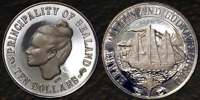 Монета 10 долларов государства Силенд
