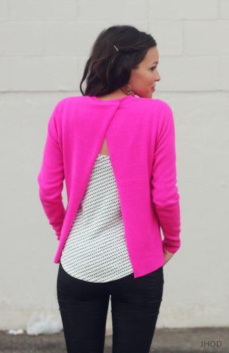 свитер с открытой спиной