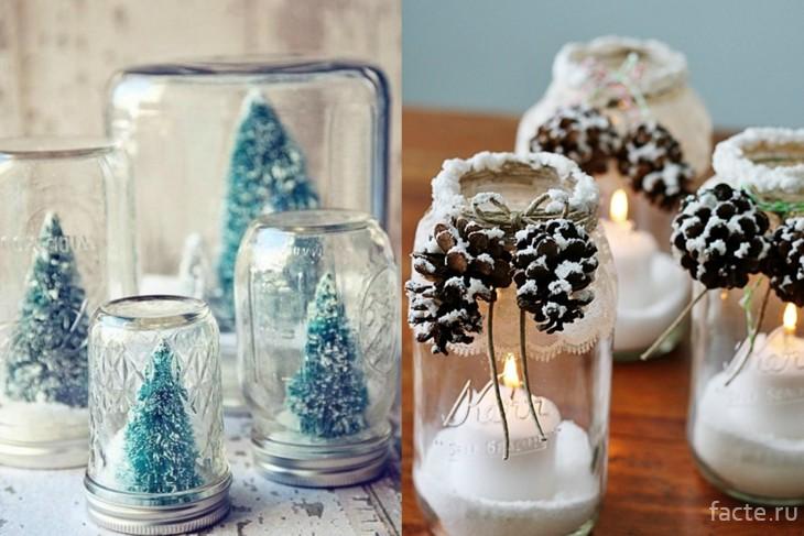 Новогодний декор с искусственным снегом