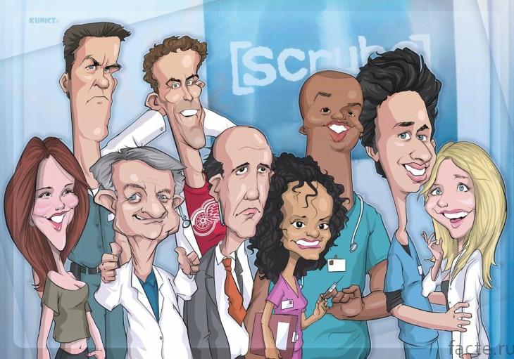 Шарж на персонажей сериала Клиника