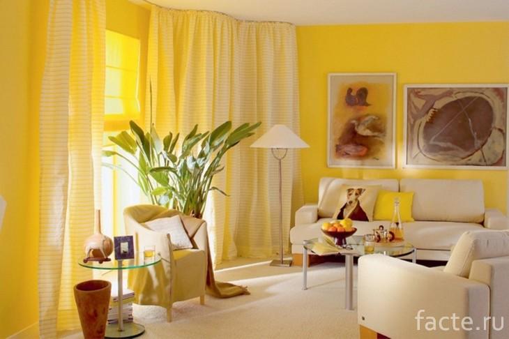 Желтый цвет в интерьере 2