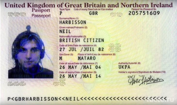 Официальный паспорт Нила Харбиссона