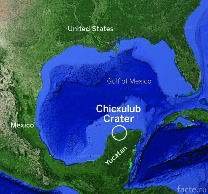 Кратер Чиксулуб. Карта