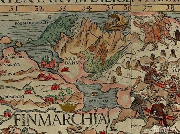 Наземная часть карты Олафа Магнуса