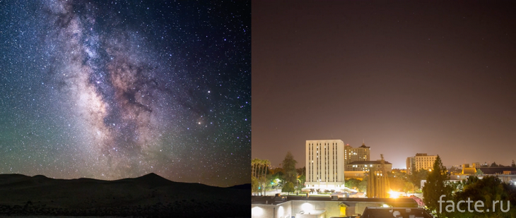 Ночное небо на природе и в городе