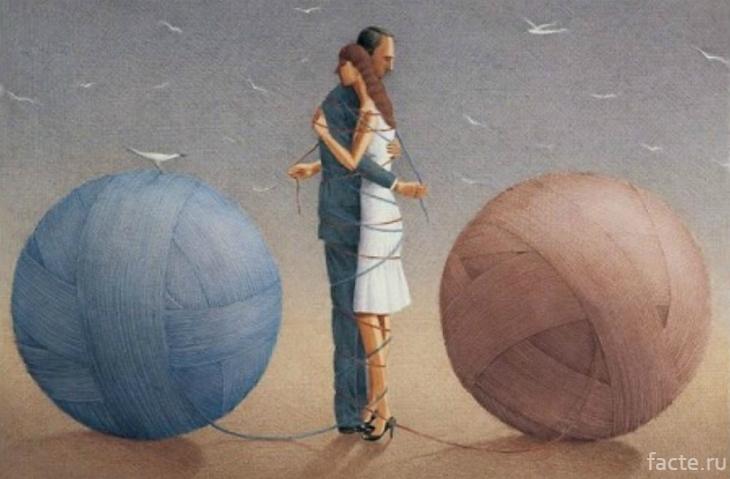 Связанная нитями пара