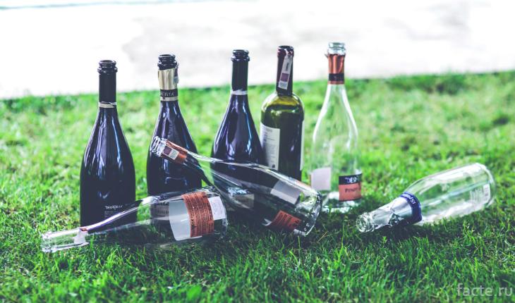 Пустые бутылки на траве