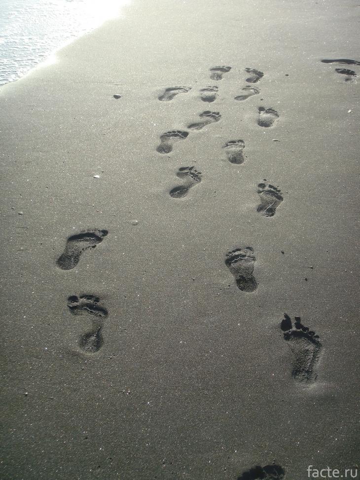 Следы на пляже