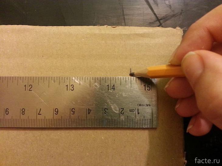 Отрезки должны быть той же длины, что и ширина коробки