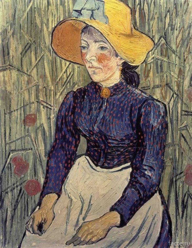 Портрет молодой женщины в соломенной шляпе. Автор: Ван Гог
