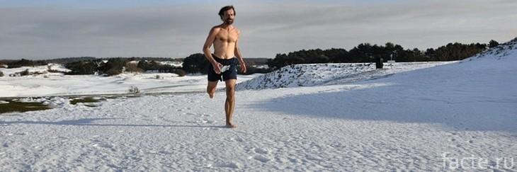 Вим Хоф бежит по снегу