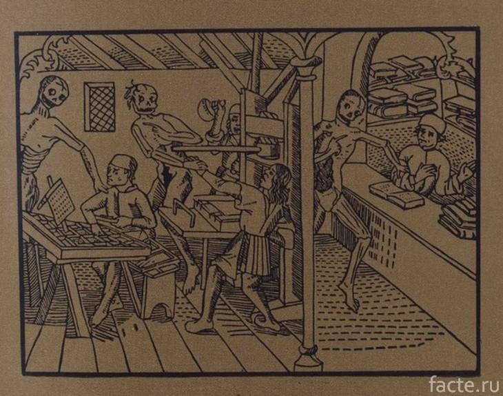 Печатники и скелеты. Старинная гравюра