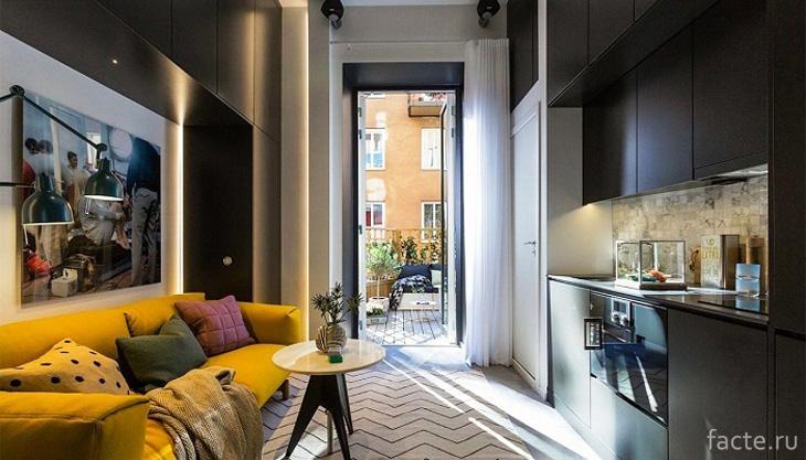 Неординарный и стильный интерьер крошечной квартиры