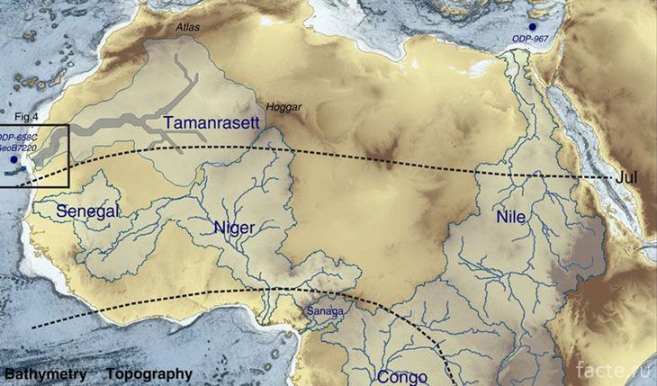 Карта древней Сахары