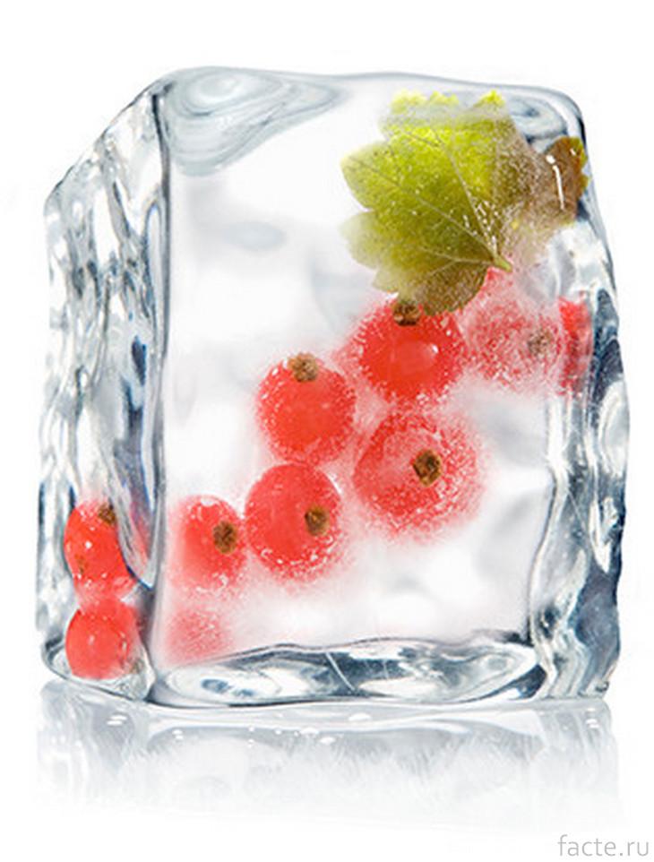 Кусок льда с ягодами