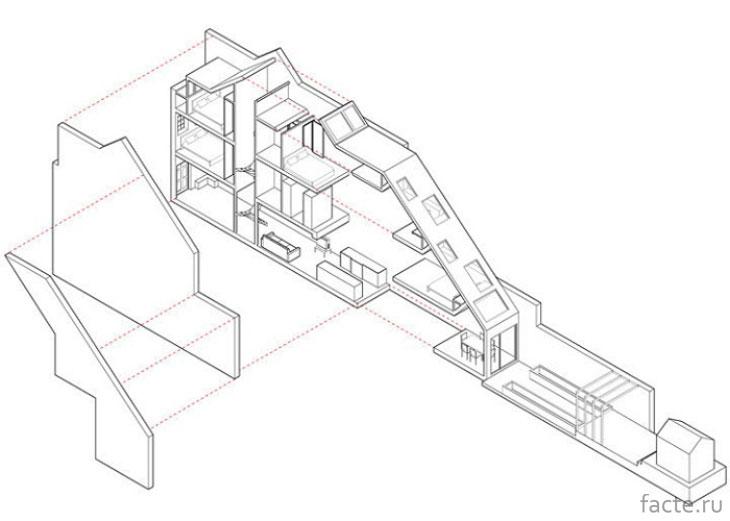 План реконструкции узкого дома