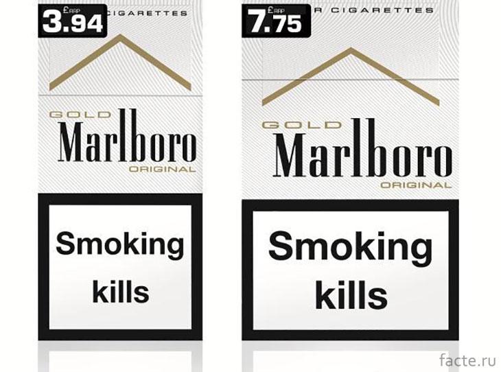 Пачки сигарет в Англии