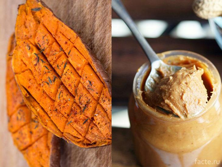 Сладкий картофель и арахисовое масло