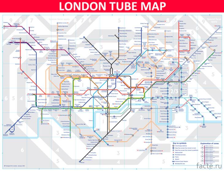 Карта метро в Лондоне