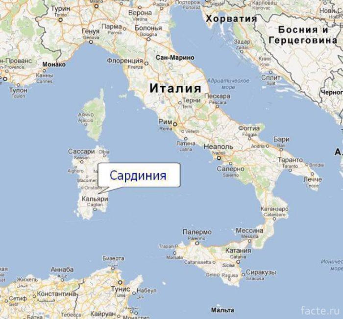 О.Сардиния на карте