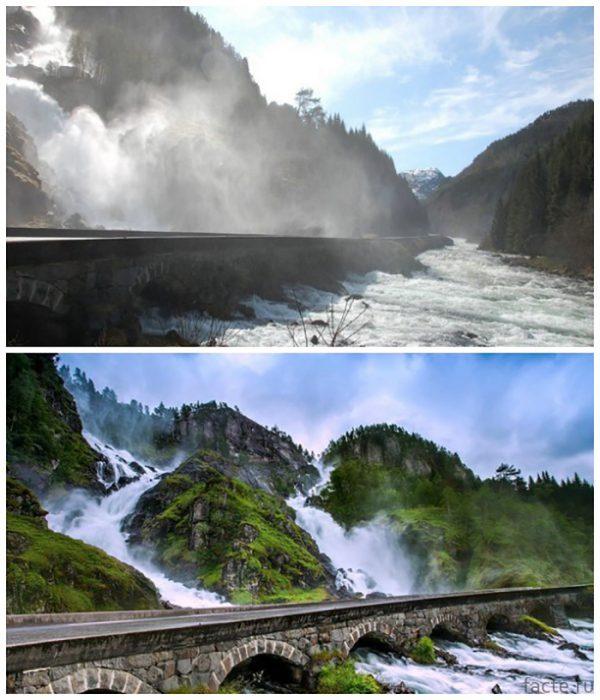Мост-на-водопаде-Лотефоссен-(Норвегия)