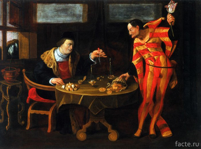 «Торговец-и-тюльпаноман»,-картина-карикатура-середины-XVII-века