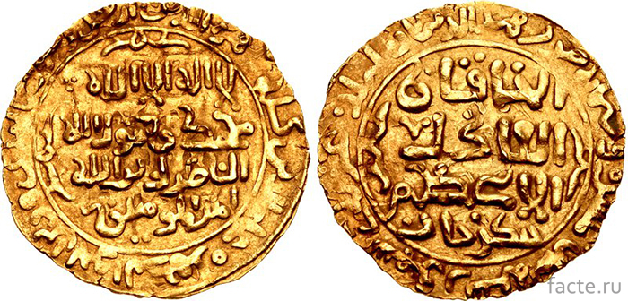 Золотой динар Чингисхана, датированный 1221 годом
