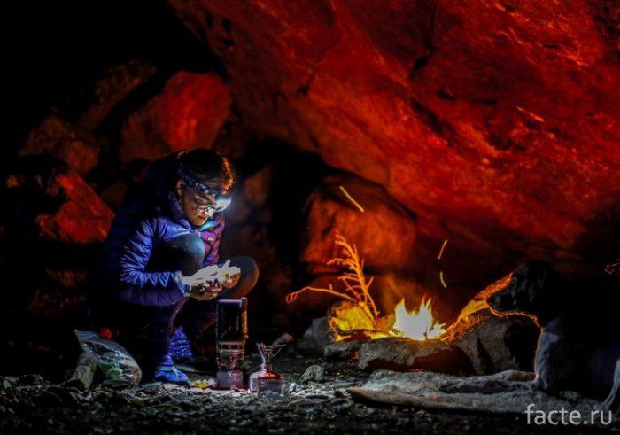 огонь в пещере