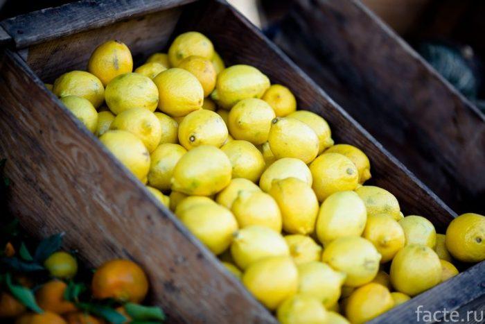лимоны в ящике