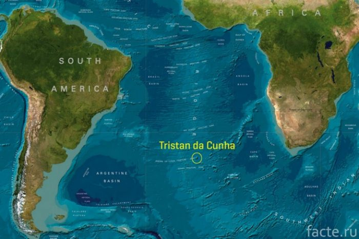 Тристан-да-Кунья на карте