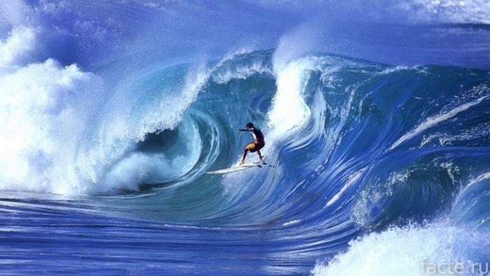 Серфинг на больших волнахе