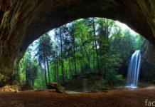 пещера и водопад