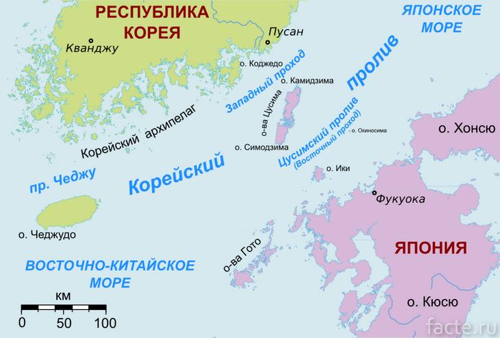 Корейский пролив карта