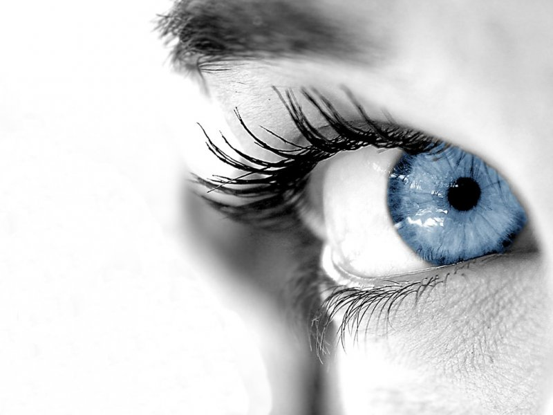 Когда свет падает спереди, глаза кажутся голубыми, а когда сбоку...